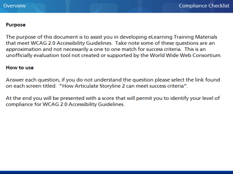 WCAG 2.0 eLearning Compliance Checklist - Overview